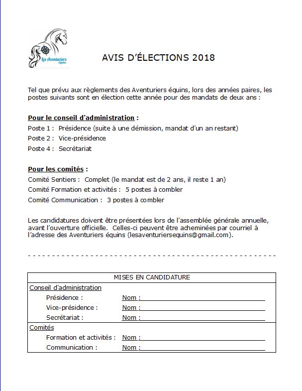Avis d'élection PNG