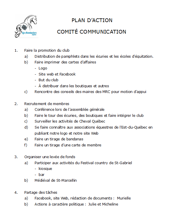 Plan d'action communication PNG